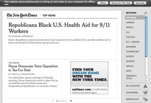 New York Times app in Firefox
